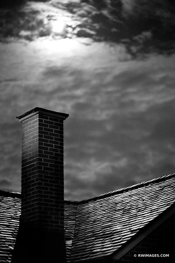 MOON OVER BOURBON STREET FRENCH QUARTER ROOFTOP NEW ORLEANS LOUISIANA BLACK AND WHITE