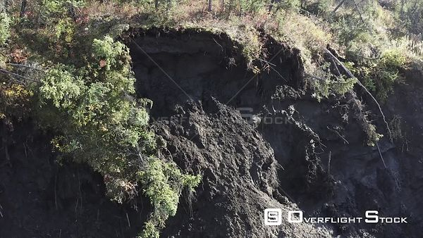 Drone Video Permafrost Melt Mud Sloughing of Hills Alaska