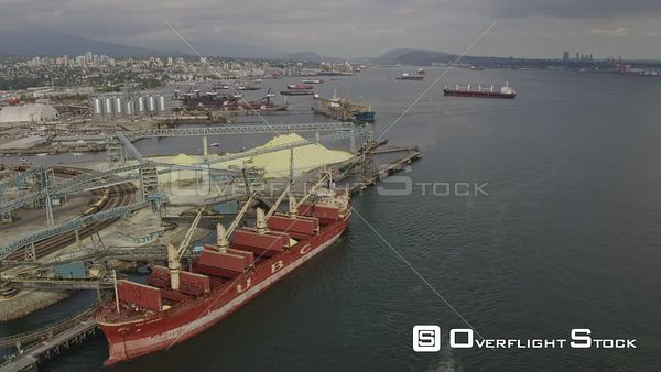 Vancouver BC Canada Crossing over then looking back at industrial shipping terminal