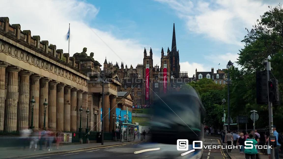 Timelapse View of the Scottish National Gallery and Edinburgh Old Town Scotland