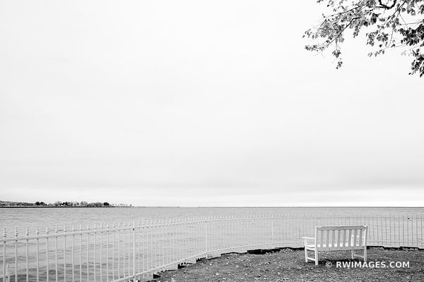LONELY AUTUMN BENCH BY THE LAKE MILWAUKEE WISCONSIN BLACK AND WHITE