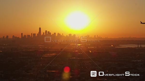 New Jersey Newark Aerial NYC Cityscape Sunrise