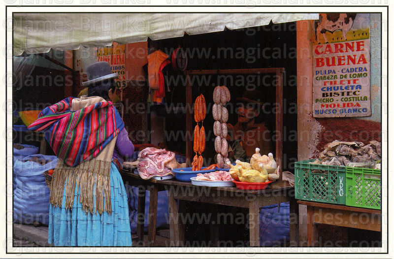 #276 Aymara lady shopping at the butchers, Coroico