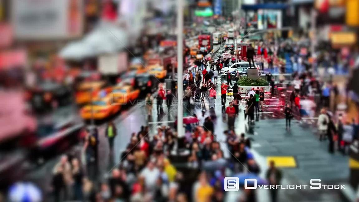NYC New York USA Zooming busy city traffic time lapse of Times Square using a circular blur effect.