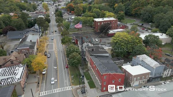 Main Street Through the Town of Palmyra New York Drone View