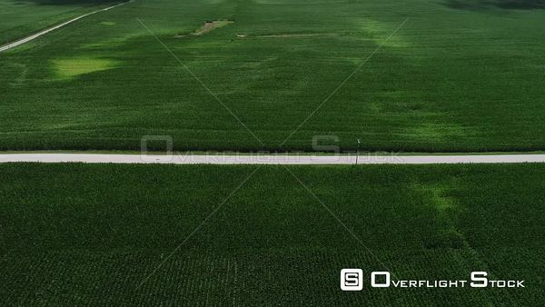 Rural Road through Corn Fields in Summer Indiana Drone Aerial View