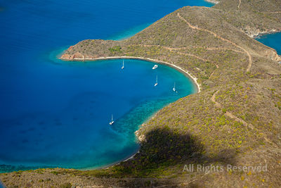 Sailboats Anchored in Normand Island and Bernures Bay. British Virgin Islands Caribbean