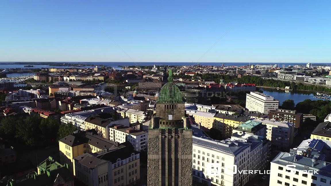 Helsinki church, UHD aerial descending view of kallio cityscape and the cathedral, in the city of Helsinki, on a sunny summer...