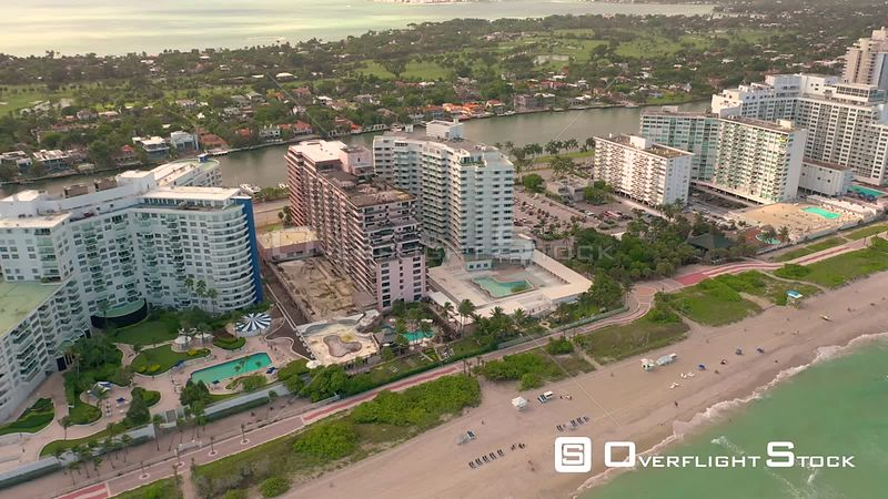 Beachfront condominium real estate Miami Beach shot with aerial 4k drone