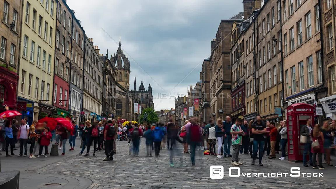 Timelapse View of the Medieval Royal Mile in Edinburgh Old Town Scotland
