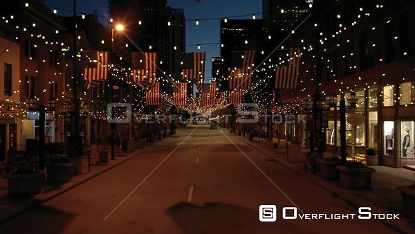 Denver, CO US. COVD-19 Empty Market Street During Pandemic Lockdown