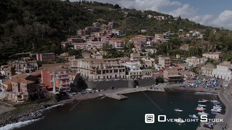 Aerial view of a small fishing village by the sea in Sicily Italy