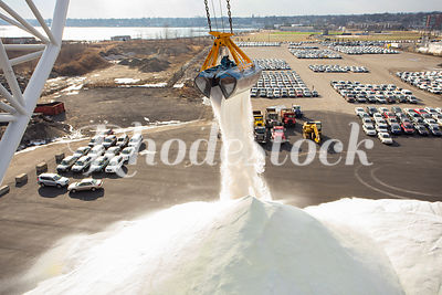 Crane Unloads Salt at the Port of Providence, RI