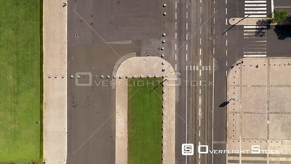 Aerial top down of empty road near Jerónimos Monastery and Empire Square, in Belém, Lisbon, empty streets During Covid-19 Pan...