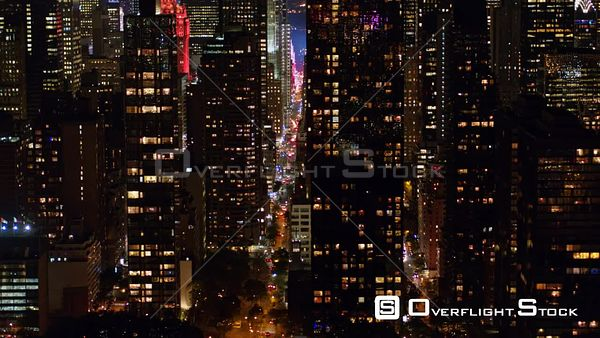 NYC New York Low nighttime birdseye detail view of Midtown Manhattan cityscape, long