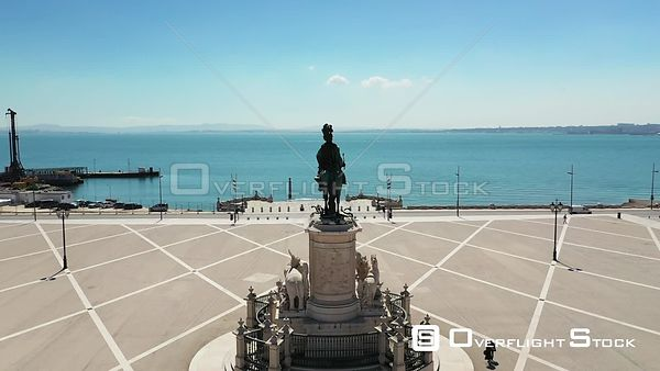 Shot Flyby, D. José I Statue, in Praca Do Comercio, Terreiro Do Paco,in Lisbon, Empty Streets, During Covid-19 Pandemic, on a...