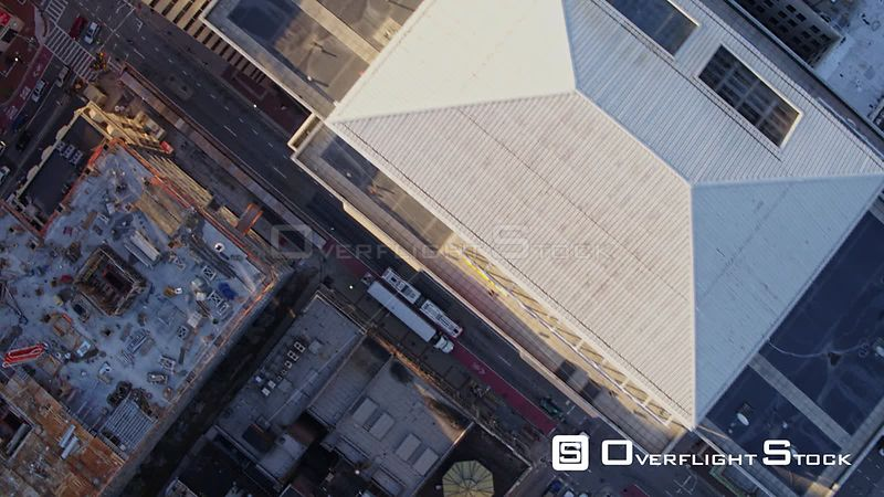 Baltimore Maryland Aerial Flying vertically over downtown cityscape