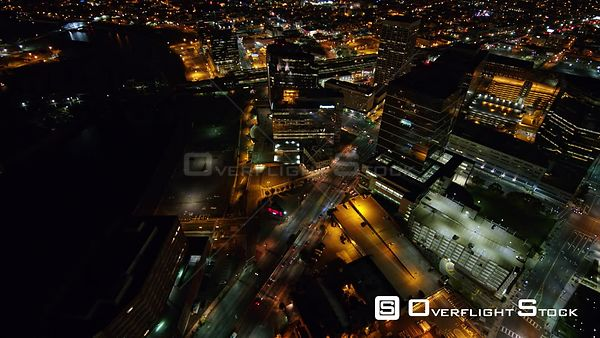 New Jersey Newark Aerial Birdseye Cityscape Downtown Night