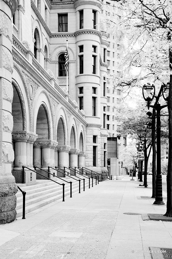 DOWNTOWN MILWAUKEE WISCONSIN BLACK AND WHITE VERTICAL