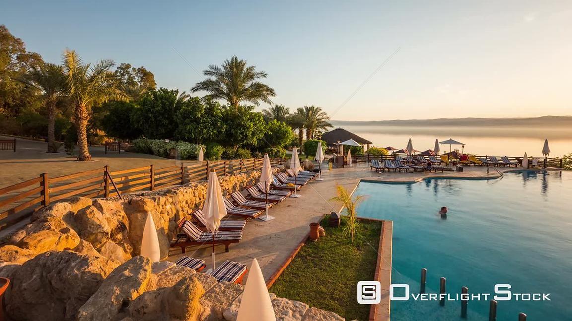 Sunset time lapse of Dead Sea and resort Israel