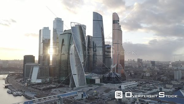 Sunset Sideway Flight by MBCC. Moscow Russia Drone Video View