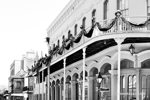 RUE DES URSULINES STREET FRENCH QUARTER NEW ORLEANS LOUISIANA BLACK AND WHITE