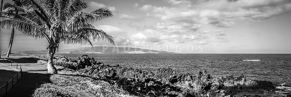 Maui Hawaii Wailea Makena Black and White Panorama Photo