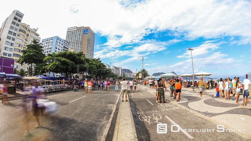 City pedestrian traffic time lapse at Copacabana Beach in Rio De Janeiro Brazil