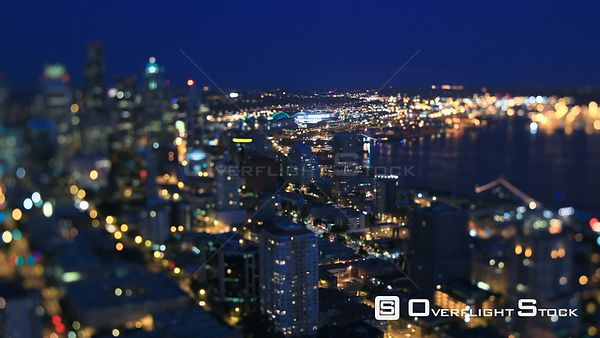 Seattle Washington State USA Seattle cityscape time lapse at night using a tilt shift lens with vertical center in focus and ...
