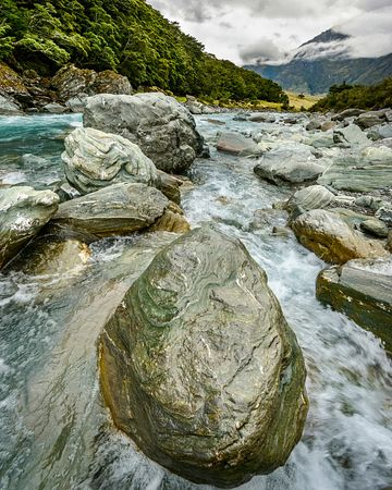 Large boulders in the Matukituki River which flows into Lake Wanaka.