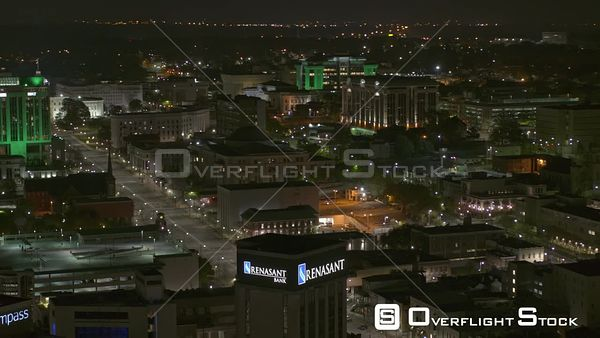 Montgomery Alabama tilt up reveal the capitol building dexter avenue and surrounding buildings at night  DJI Inspire 2, X7, 6k