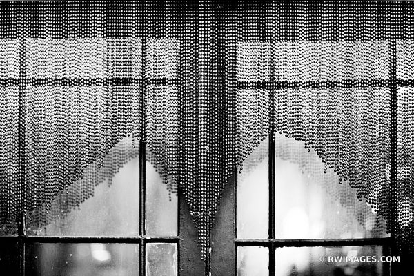 MARDI GRAS BEADS WINDOW FRENCH QUARTER LOUISIANA NEW ORLEANS BLACK AND WHITE