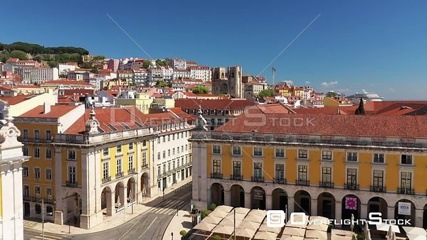 Shot Over Sé De Lisboa, Terreiro Do Paco, in Lisbon, Empty Streets, During Covid-19 Pandemic, on a Sunny Day, Portugal