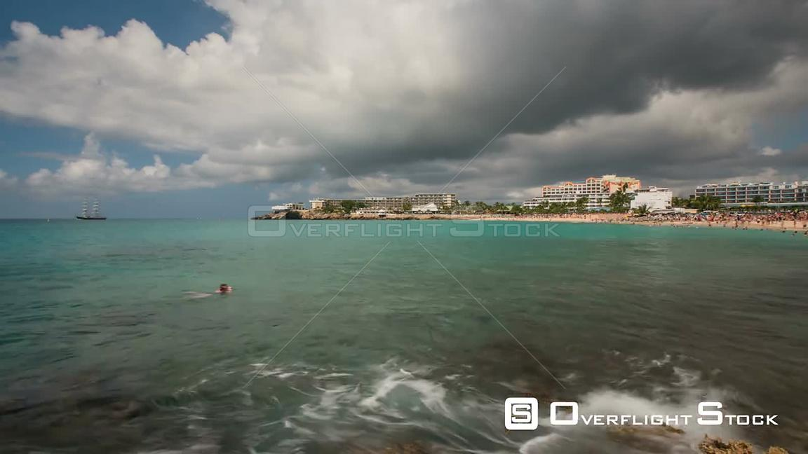 Time lapse of famous runway beach in Saint Martin.