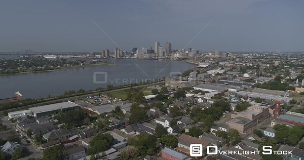 New Orleans Louisiana Aerial Full panoramic view of Bywater district, surrounding neighborhoods and river