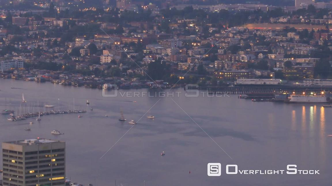 Time lapse of Lake Union boat traffic during sunset. Seattle Washington