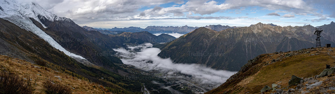 A wide angle panorama from the mountainside of Mont Blanc in Chamonix, France