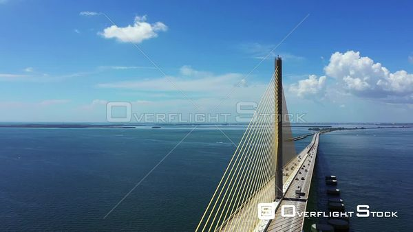 Aerial video inspection of the Sunshine Skyway Bridge St Petersburg Florida USA