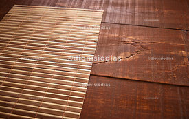 Background with bamboo mat over wooden desk