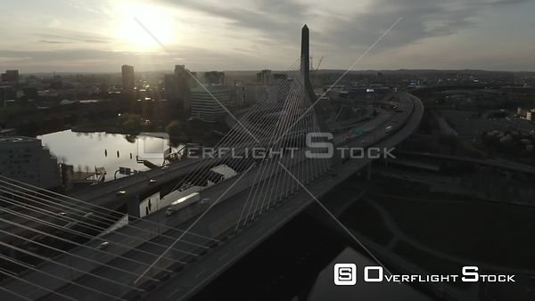 Zakim Bunker Hill Memorial Bridge in Boston, MA, United States at rush hour during the COVID-19 Pandemic (3 of 5)