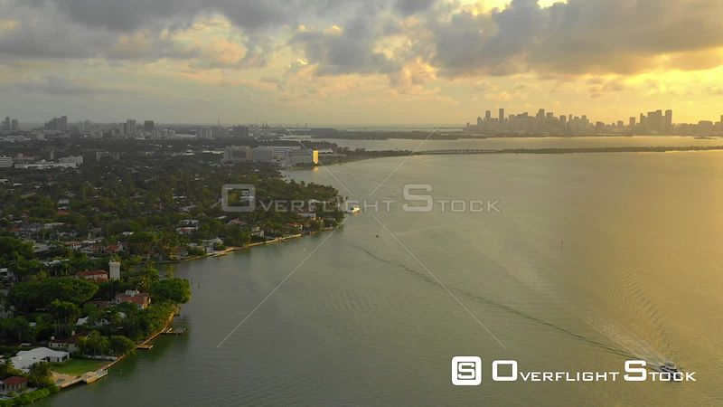 Aerial video beautiful Miami Biscayne Bay sunset