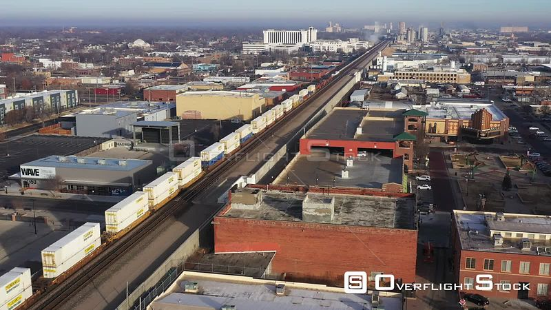 Freight Train Moving Through Downtown, Wichita, Kansas, USA