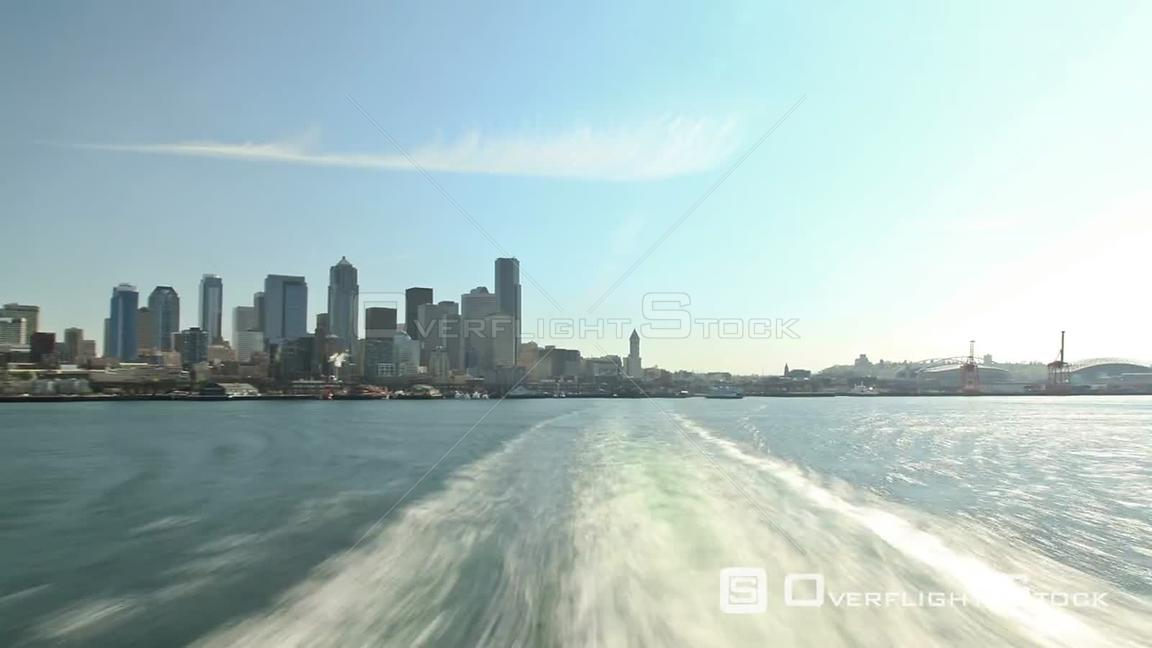 Seattle Washington State USA Time lapse of a ferry ride away from Seattle with a rear view.