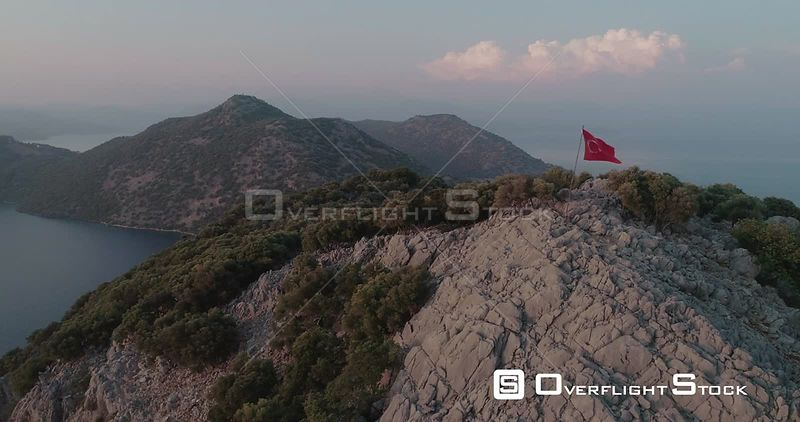 Aerial View of Turkish Flag on Remote Mountain Turkey