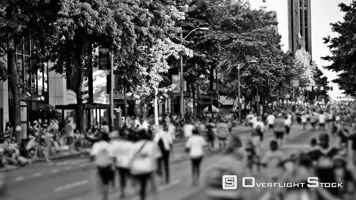 Seattle Washington State USA Time lapse clip of marathon runners passing by in BW