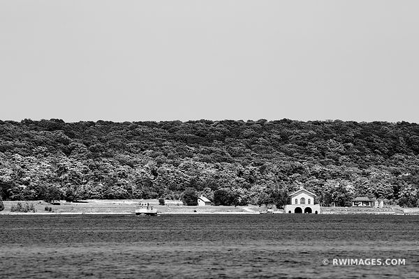 KARFI AND BOATHOUSE ROCK ISLAND STATE PARK SHORE FROM WASHINGTON ISLAND DOOR COUNTY WISCONSIN BLACK AND WHITE
