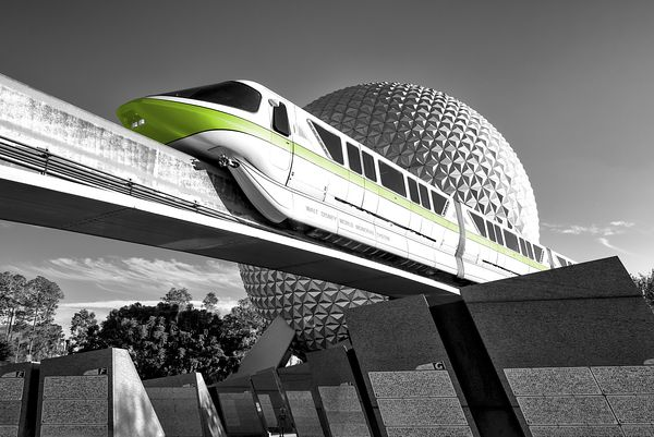 Monorail Lime with Spaceship Earth and Monoliths | Selective Color Print