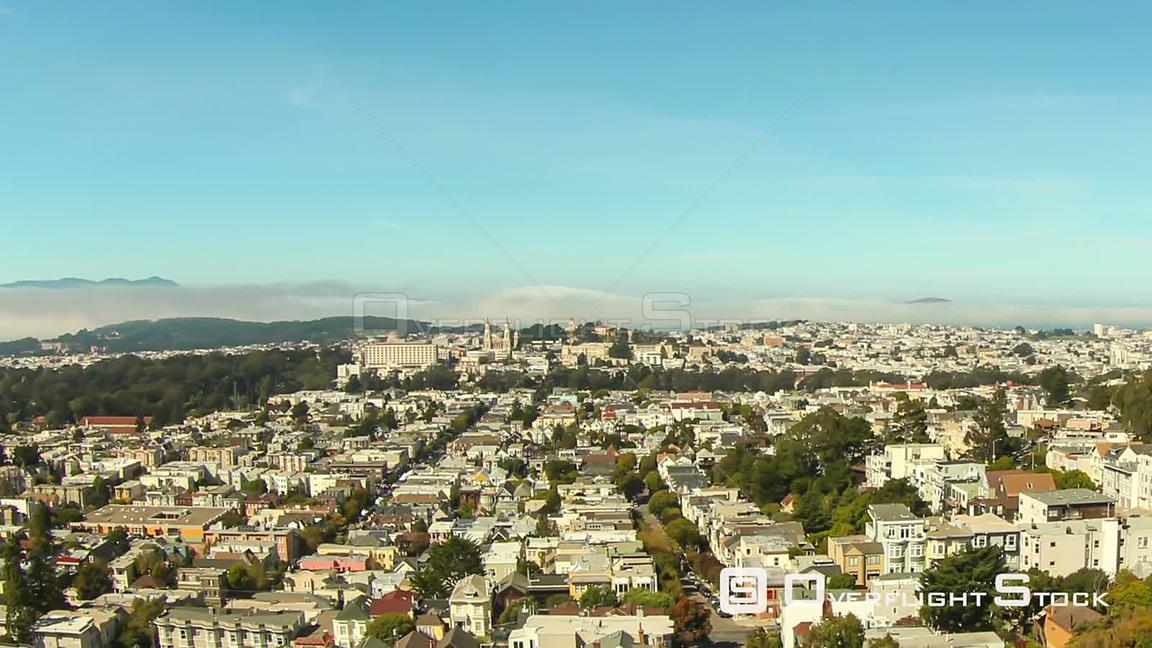 San Francisco California USA San Francisco cityscape time lapse with rolling fog in background