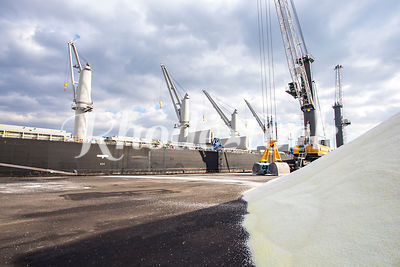 Freighter Unloads Salt at Port of Providence, RI