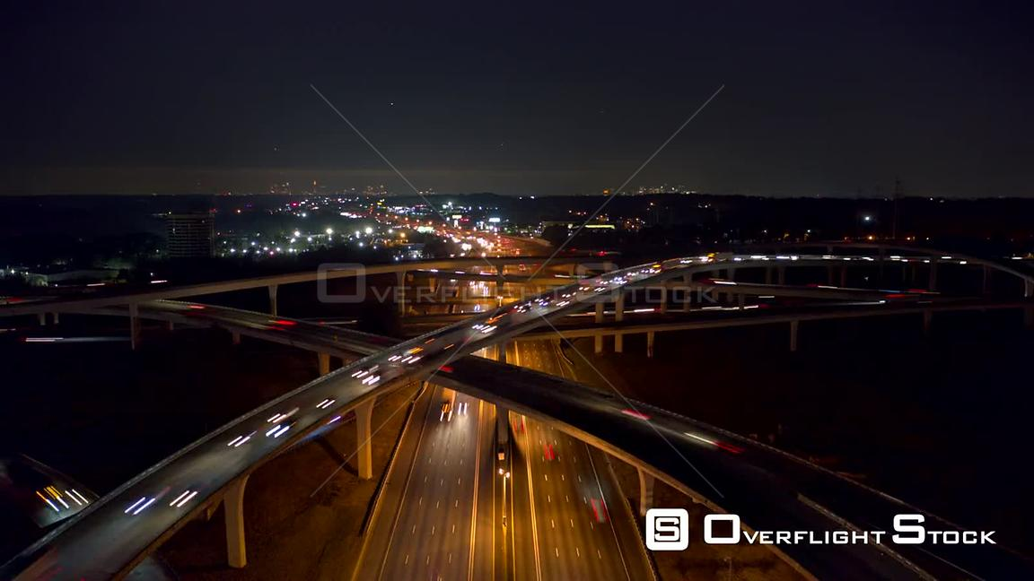 Atlanta Aerial Nighttime view hyperlapse low over freeway